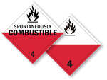 Class 4 Spontaneously Combustible Placards