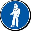 White Full Protective Clothing Military Hazard Symbol Label