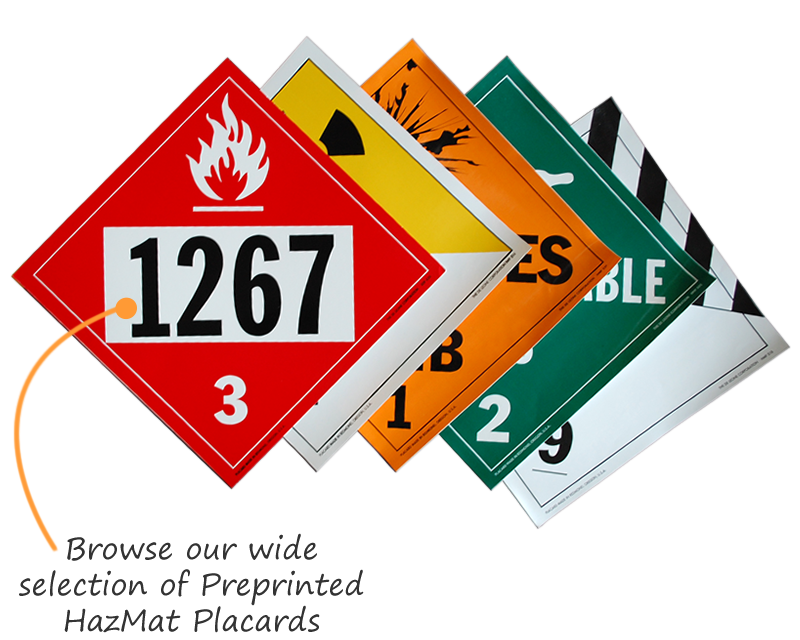 preprinted hazmat placards tag shipments by un regulations