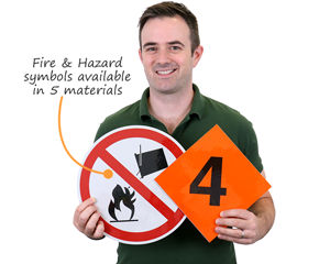 Military fire division and hazard symbol signs