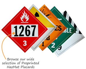 Preprinted HazMat Placards