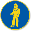 Wear Yellow Protective Clothing Military Hazard Symbol Label